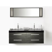 Bathroom Vanity With 4  Drawers, Double Sink and Mirror - MALAGA