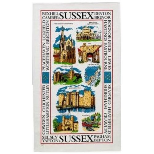 Sights of Sussex Tea Towel Souvenir Gift Hastings Brighton Cathedral Castle