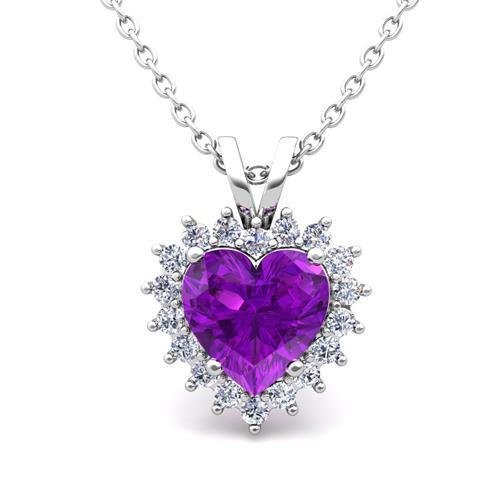White Gold 14K Amethyst With 8.75 Carats Diamonds Women Pendant Necklace