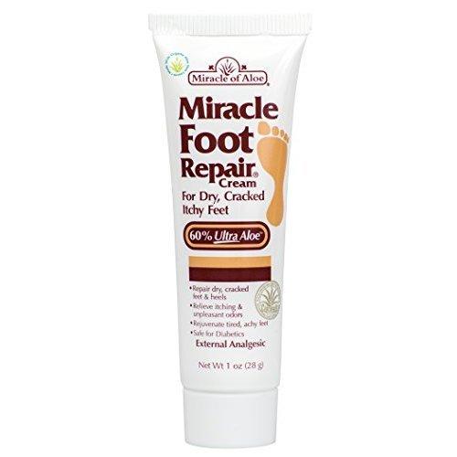 Miracle Foot Repair Cream 1 oz with 60% Pure Organic Aloe Vera Softens Dry Cracked Feet