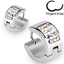 Multi AB Crystal Pair Surgical Steel Hinged Snap Close Huggy Hooped Earrings 0.8mm Thickness