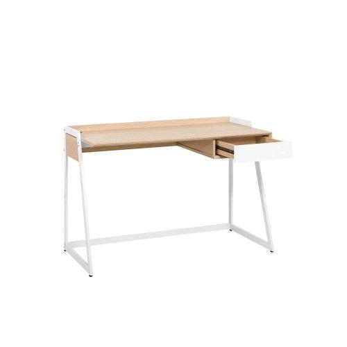 Home Desk 120 x 60 cm Light Wood and White QUITO
