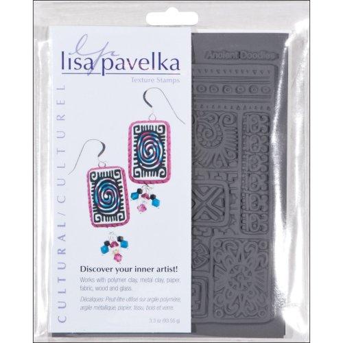 """Lisa Pavelka Texture Stamp Set 4.25""""X5.5"""" 2/Pkg-Cultural-Ancient Doodles & Ethnic Border"""