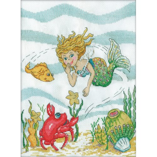"""Design Works Counted Cross Stitch Kit 9""""X12""""-Mermaid (14 Count)"""