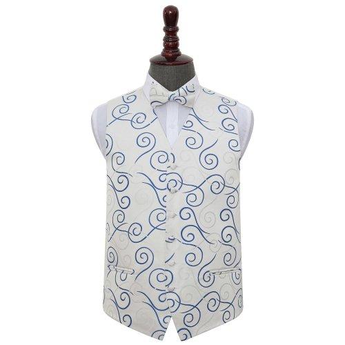 Silver & Royal Blue Scroll Wedding Waistcoat & Bow Tie Set 48'