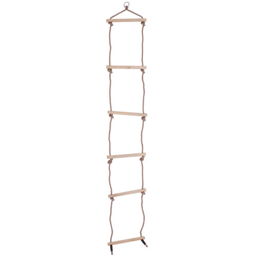 Bigjigs Toys Wooden Rope Ladder with 6 Rungs for Climbing Frame/Tree House