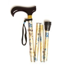 Adjustable Folding Walking Stick - Yellow Waterlily DEsign