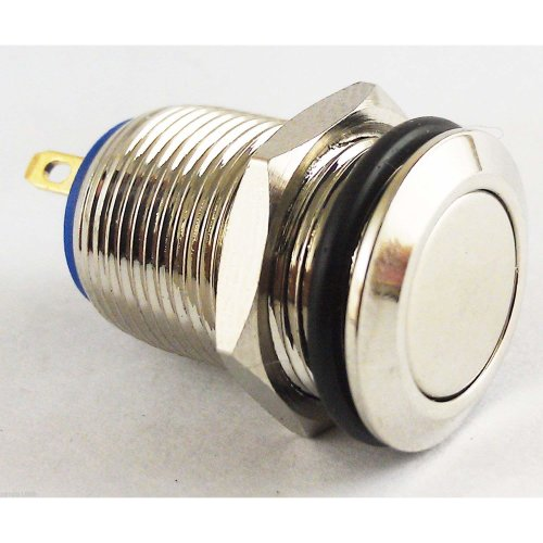 Waterproof Stainless Steel Push Button Momentary ON/OFF Horn Switch 12mm Silver