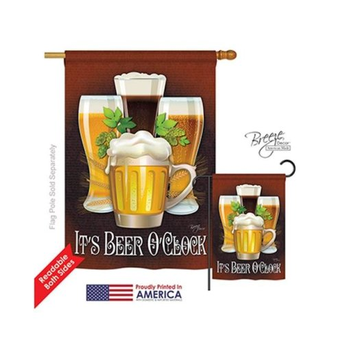 Its Beer OClock 2-Sided Vertical Impression House Flag - 28 x 40 in.