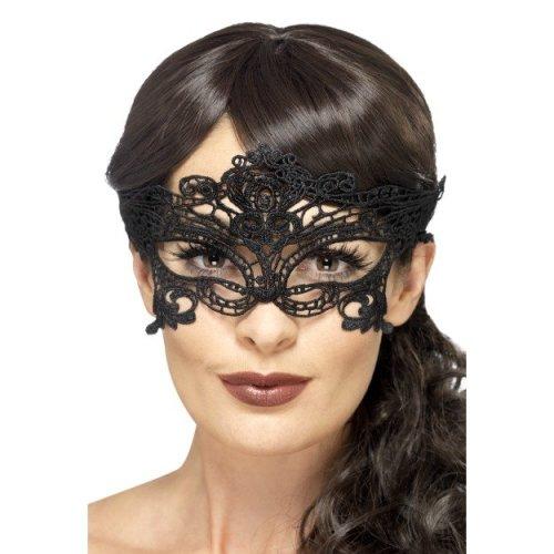 Black Embroidered Lace Filigree Heart Eye Mask -  lace filigree eyemask heart black embroidered masked ball fancy dress halloween venetian masquerade