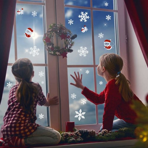 LUTER Snowflakes Sticker Christmas Decorations Window Clings Winter Wonderland Decals Xmas Snowman Decor for Home, Coffee House, Restaurant, Dress...