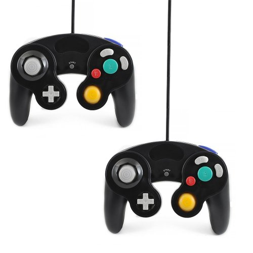 Qumox 2 X black wired classic controller joypad gamepad for nintendo gamecube gc & wii