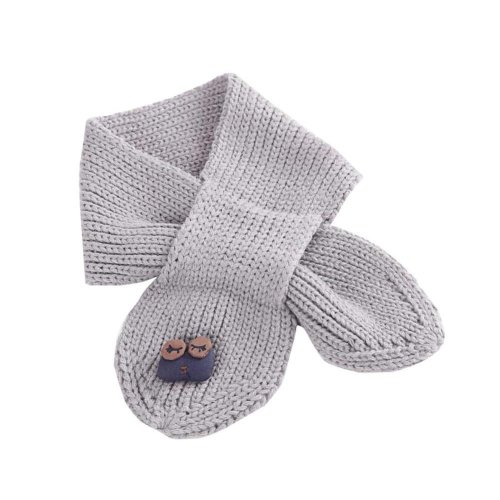 Cute Owl Knitted Scarf - Grey