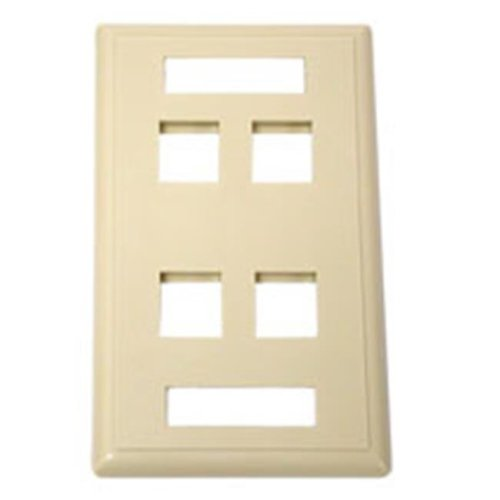 Cables To Go 03713 4-PORT MULTIMEDIA KEYSTONE WALL PLATE - IVORY