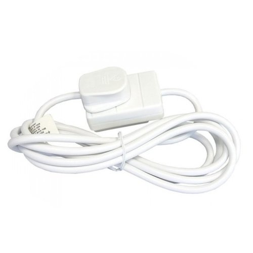 Extension Lead 1x Electrical Socket to Mains Plug Lead Single Gang 2m