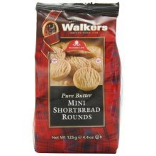 Walkers Shortbread Mini Shortbread Rounds, 4.4-Ounce Bags (Pack of 6)