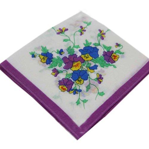 3 Pcs Vintage Handkerchiefs Ladies Pocket Flowers Handkerchief,  #04