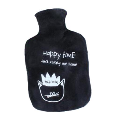 1000mL Winter Handwarmer Pocket Cute Hot-Water Bottle Water Bag Black B