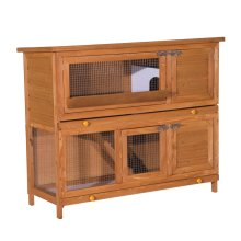 Pawhut 48-inch Large Wooden Pet Rabbit Hutch Run Hutches Cage House