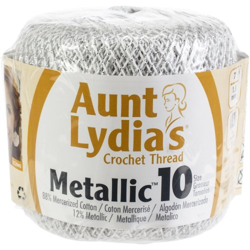 Aunt Lydia's Metallic Crochet Thread Size 10 12/Pk-White & Silver