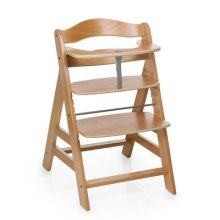 Hauck Alpha+ Wooden Height Adjustable Highchair with 5 Point Harness, Natural