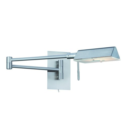 Adjustable Switched Satin Silver Finished Swing Arm Wall Light