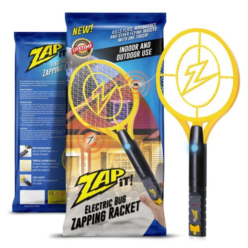 Zap-It!! Bug Zapper - Rechargeable Mosquito, Fly Swatter/Killer and Bug Zapper Racket - 4,000 Volt USB Charging, Super-Bright LED Light to Zap in...
