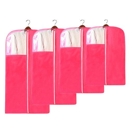4 PCS Fashion Garment Bags Clothing Dustproof Bag Set Clothes Dust Cover Red