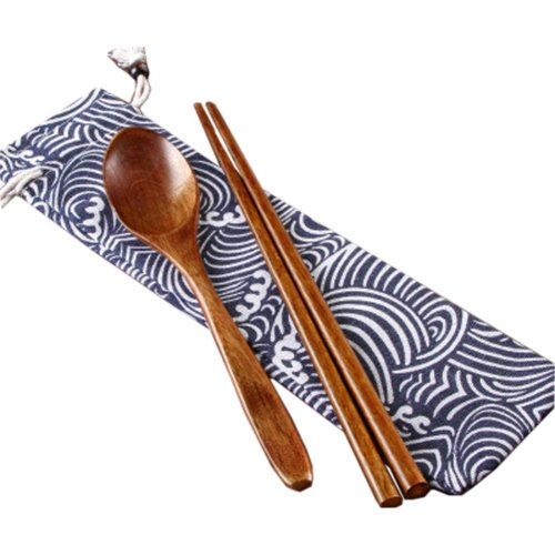 Japaness Kitchen Tableware Dinnerware Flatware Eco friendly Wood Cutlery Wooden Dinner Set #3