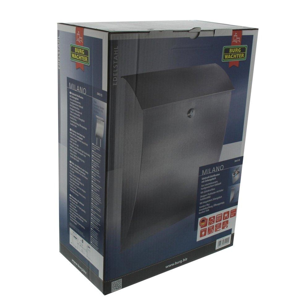 Burg Wächter Milano 3843 Es Stainless Steel Mailbox Grey On Onbuy