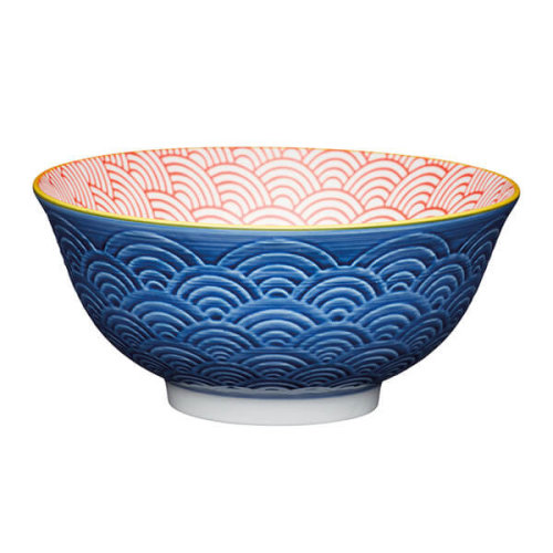 KitchenCraft Blue Arched Pattern 15.7cm Ceramic Bowl