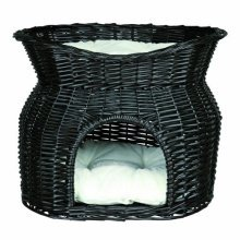 Wicker Cave With Bed On Top - 54 × 43 × 37cm -cm 37 Trixie Basket Black Sun -  wicker cave cm bed top 54 43 37 trixie basket black sun roof pillow