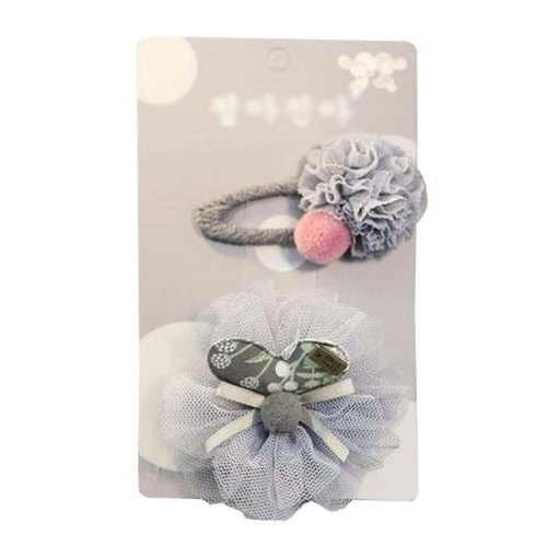 Beautiful Baby Girls Hair Clips Barrettes Lace Hair Pins 2 pieces, Gray Floral