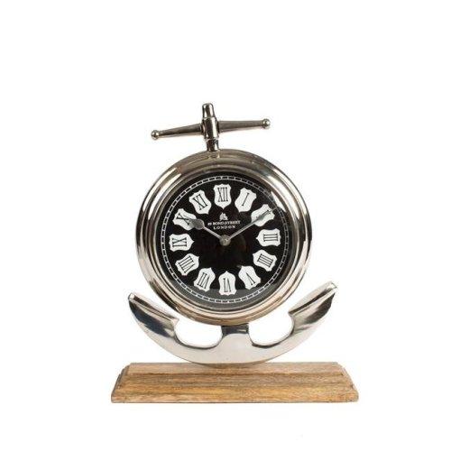 Privilege 80062 10.5 x 4 x 13 in. Aluminum & Wood Clock