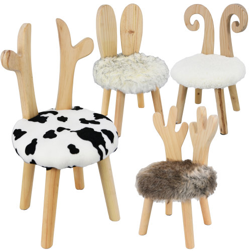 Round Wooden Animal Stool for Kids