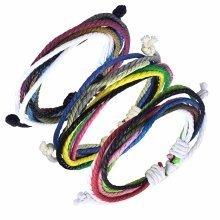 Urban Male Set of Three Multi-coloured Cord Surfer Style Bracelets