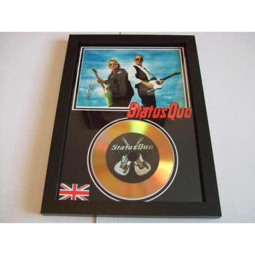 STATUS QUO SIGNED GOLD DISC DISPLAY