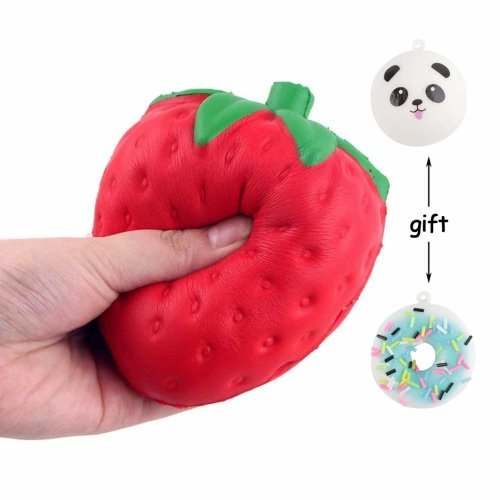 Scoolr Slow Rising Squishy Slice Kawaii Squishy Strawberry Toy Cream Scented Slow Rising Hand Wrist Toy Fidget Toy Think ink Toy Color Random