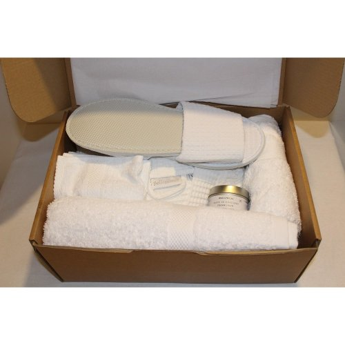 White 100% Cotton Waffle Robe + Egyptian Cotton Towels Gift/Spa Pamper Set