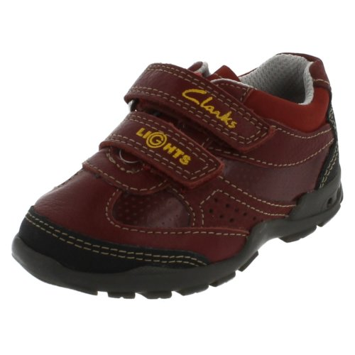 Boys Clarks Casual Flashtime shoes - Red Leather - UK Size 5F - EU Size 21 - US Size 5.5