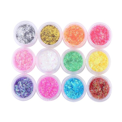 12 Boxes Makeup Glitter Sequins Shining Nail Art Sequins Face Glitter, Colorful