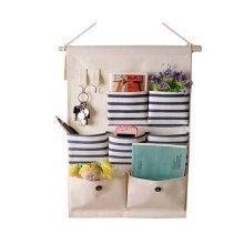 7-Pockets Zakka Wall Door Closet Hanging Storage Magazine Organizer Case, A