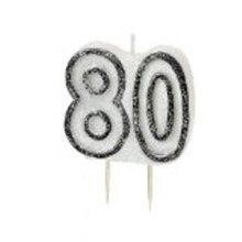 Age 80 Birthday Candle Black Glitz