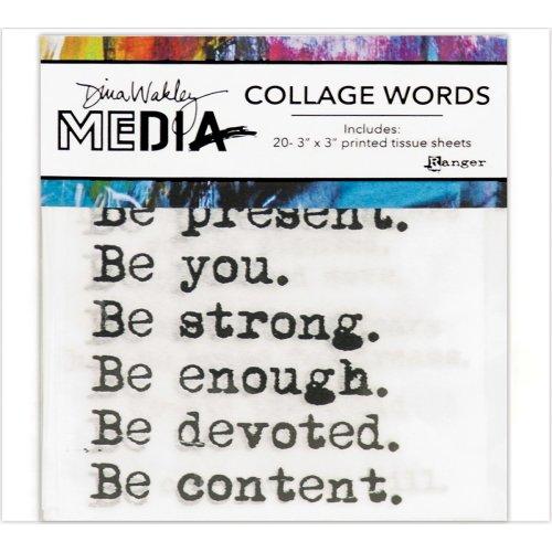 "Dina Wakley Media Collage Word Pack 3""X3"" 20/Pkg-#1"
