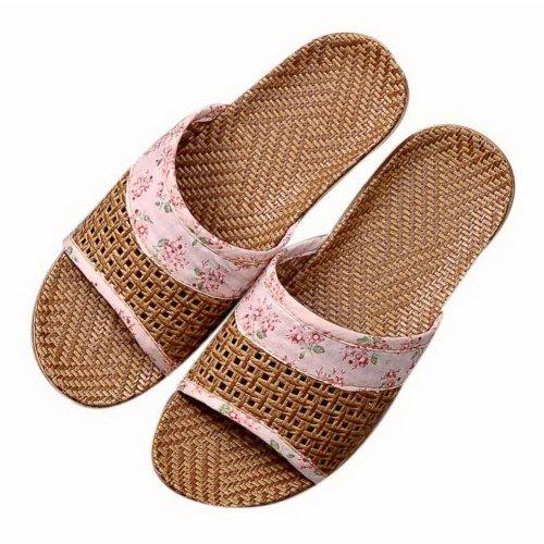 Summer Home Indoor/Outdoor Sandals Thick Bottom Linen Couple Slippers Solid Pink