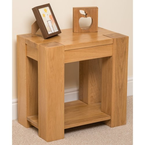 Kuba Chunky Solid Oak Lamp/ Side Table