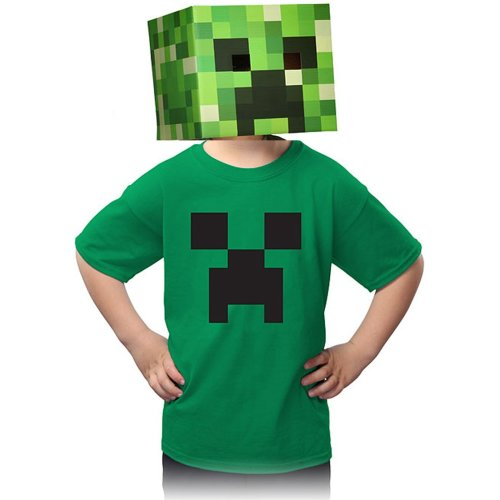 Authentic Minecraft Kids Creeper T Shirt 100% Cotton, Irish Green