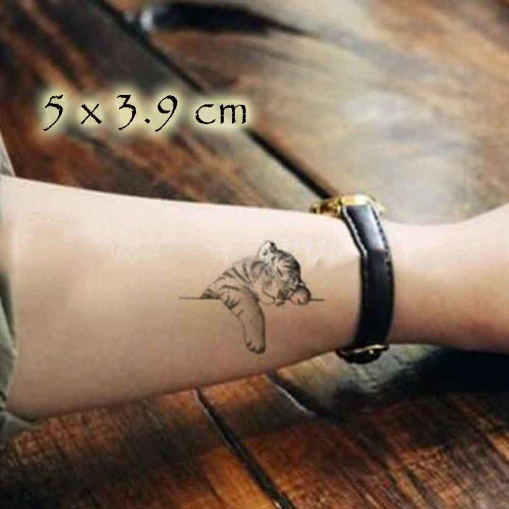 5 Sheets Cute Tiger Black Temporary Tattoos Body Art Stickers Waterproof  Fake Tattoo for Men Women Tattoo Sticker