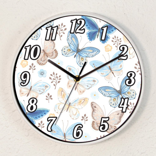 Vintage Butterflies Baby Girls Room Children Wall Clock