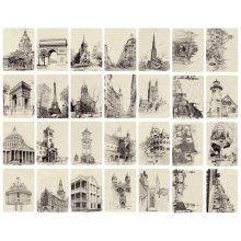 Beautiful Travel Scenery 28 PCS Artistic Retro Postcards-Architecture